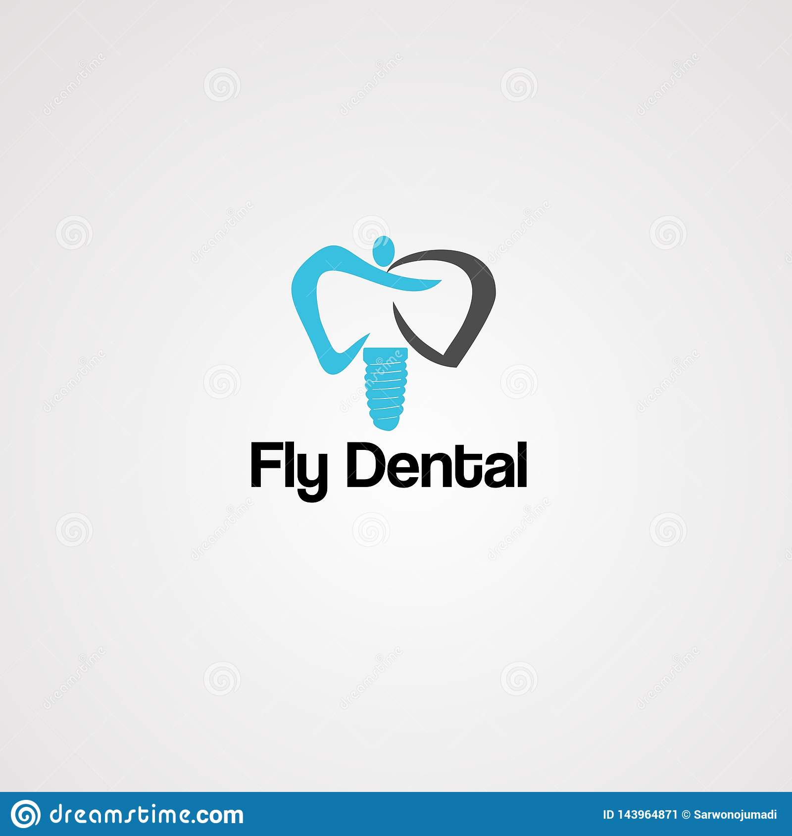 Fly dental logo vector, icon, element, and template