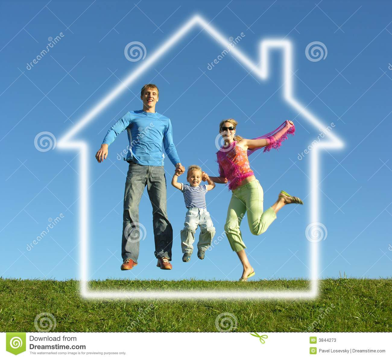 Download Fly Family With Dream House Stock Image - Image of mother, dream: 3844273