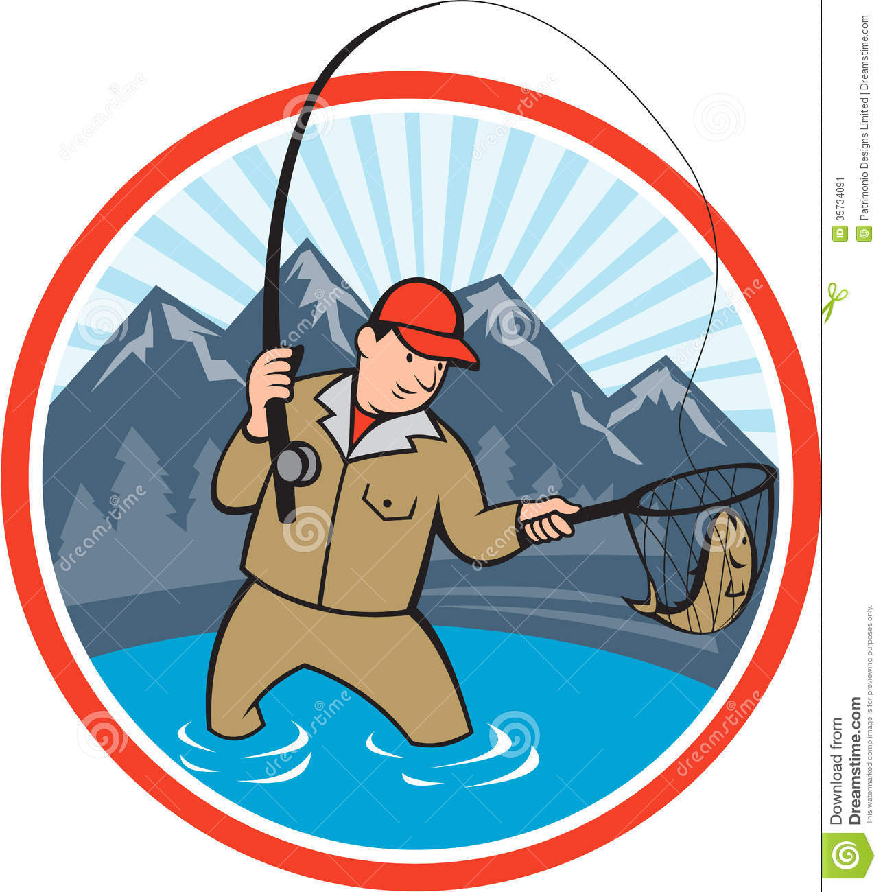 Fly Fisherman Catching Trout Fish Cartoon Illustration 35734091
