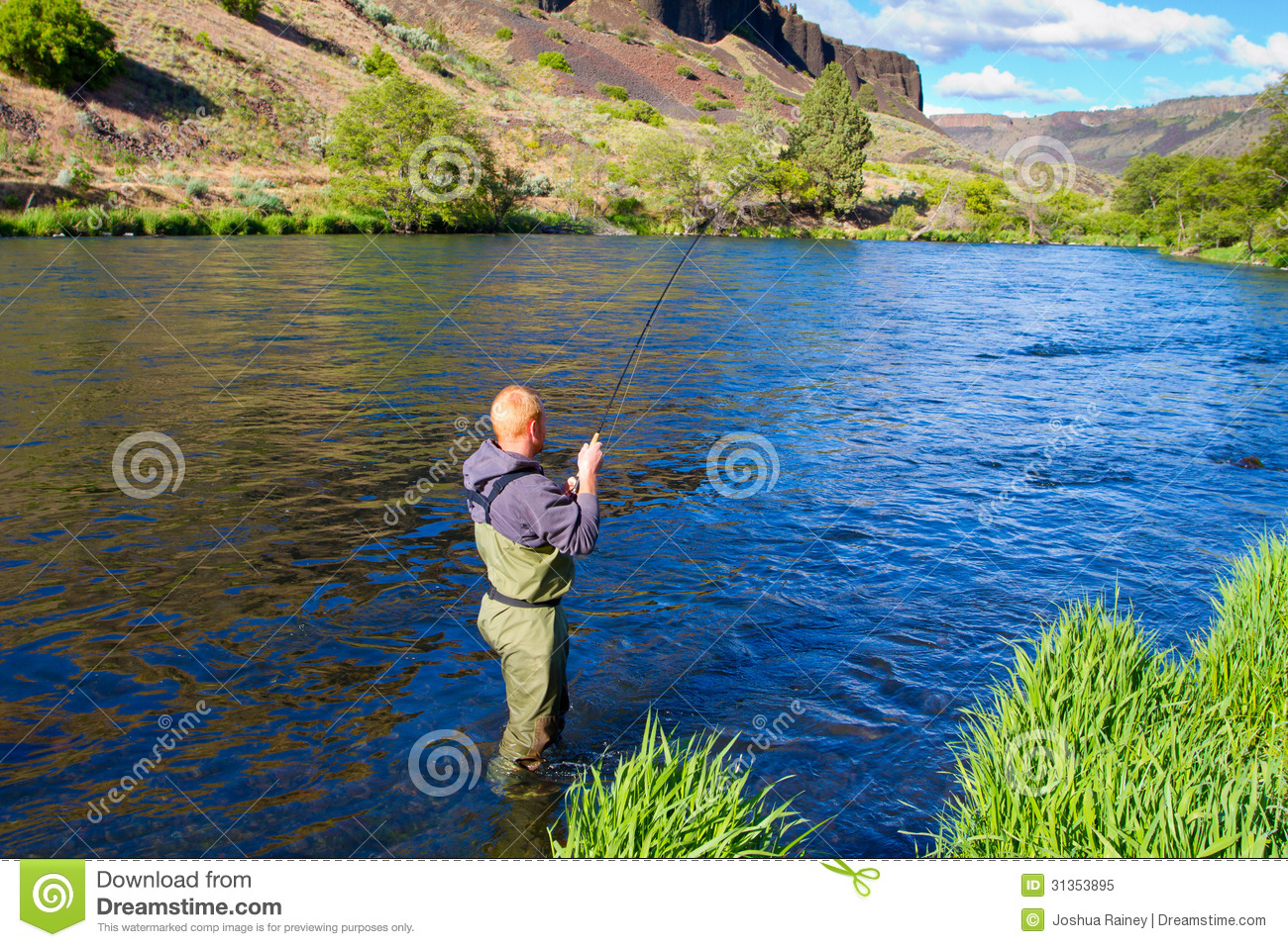 Fly fisherman deschutes river royalty free stock photo for Oregon free fishing