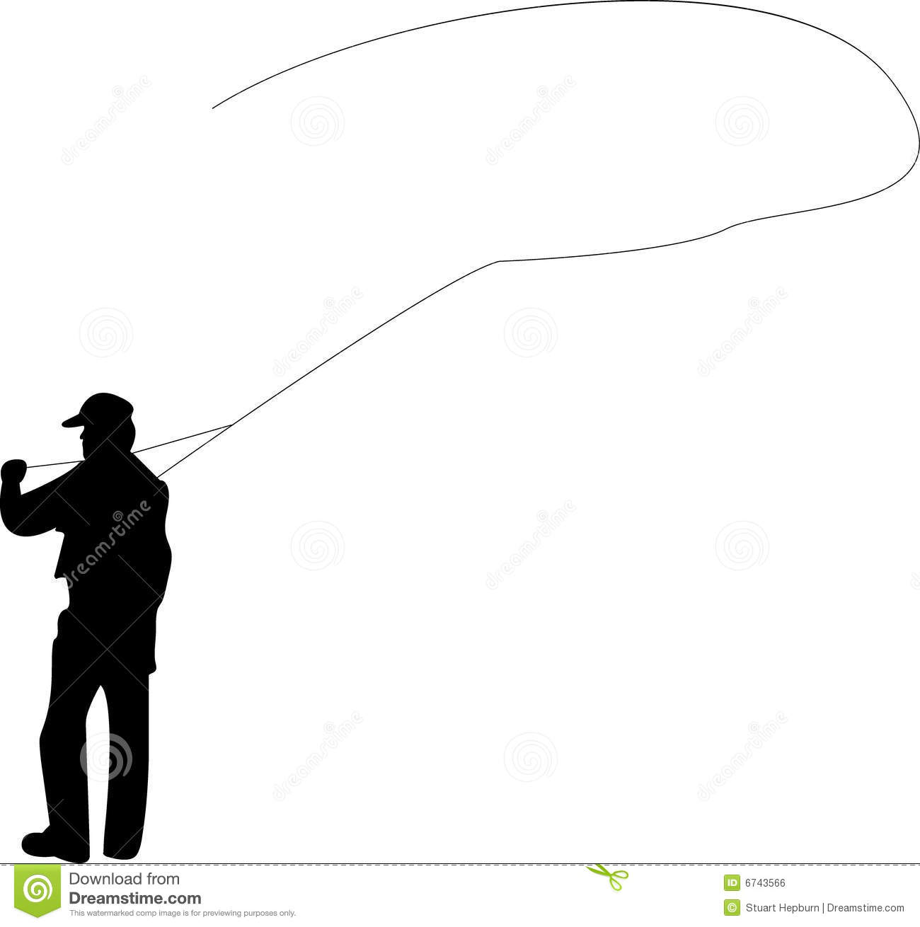 Fly fishing stock vector. Illustration of casting ...