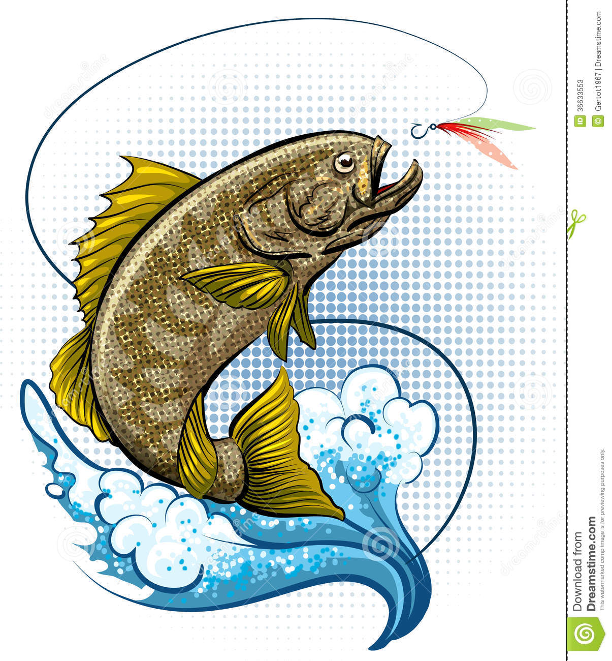 The fly fishing stock illustration image of halftone for Dream about fish out of water