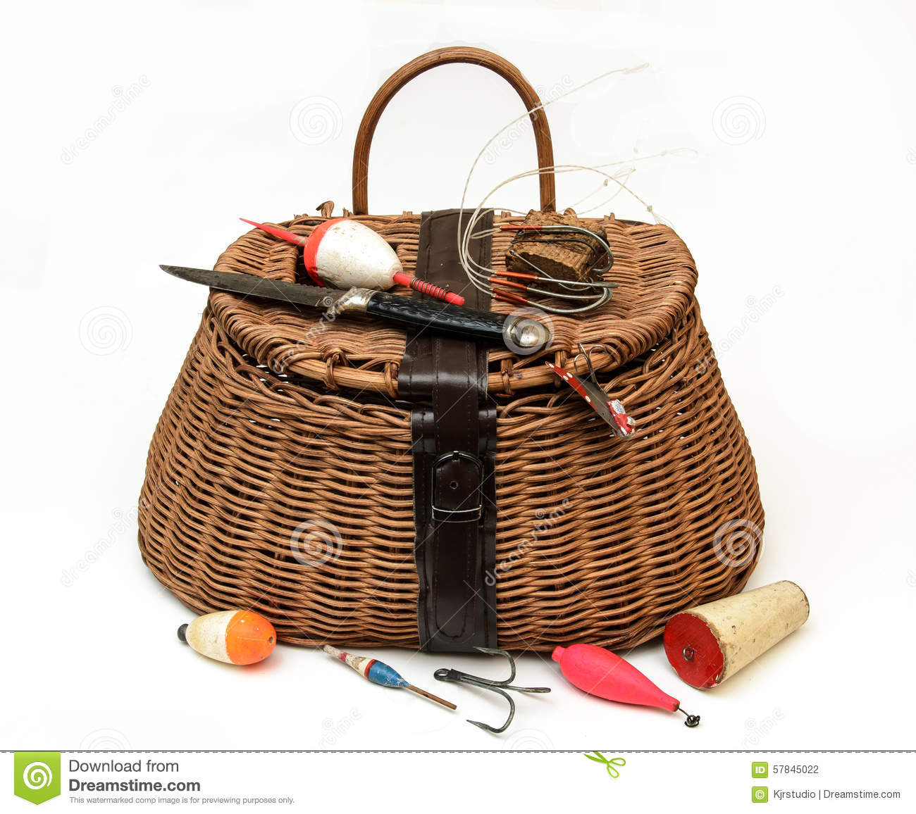 Fly fishing equipment and basket on white stock photo for Trout fishing supplies