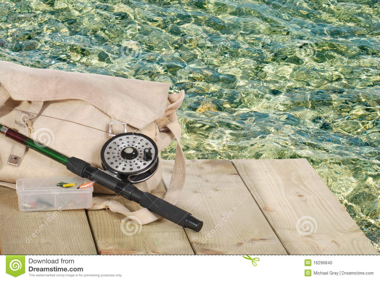 Fly Fishing Equipment On A Dock Stock Photo Image 16296840