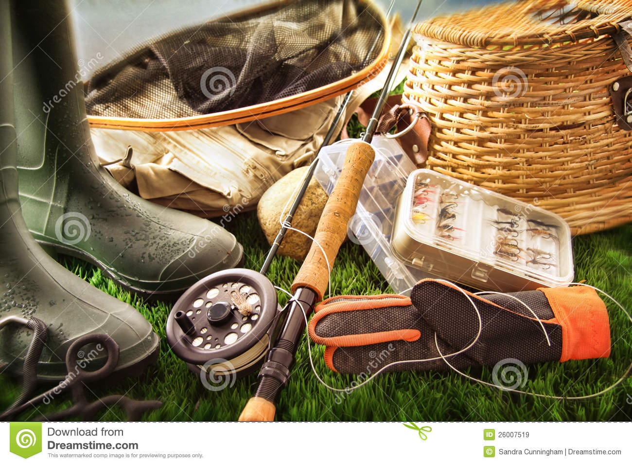 Fly fishing equipment on grass royalty free stock images for Trout fishing supplies