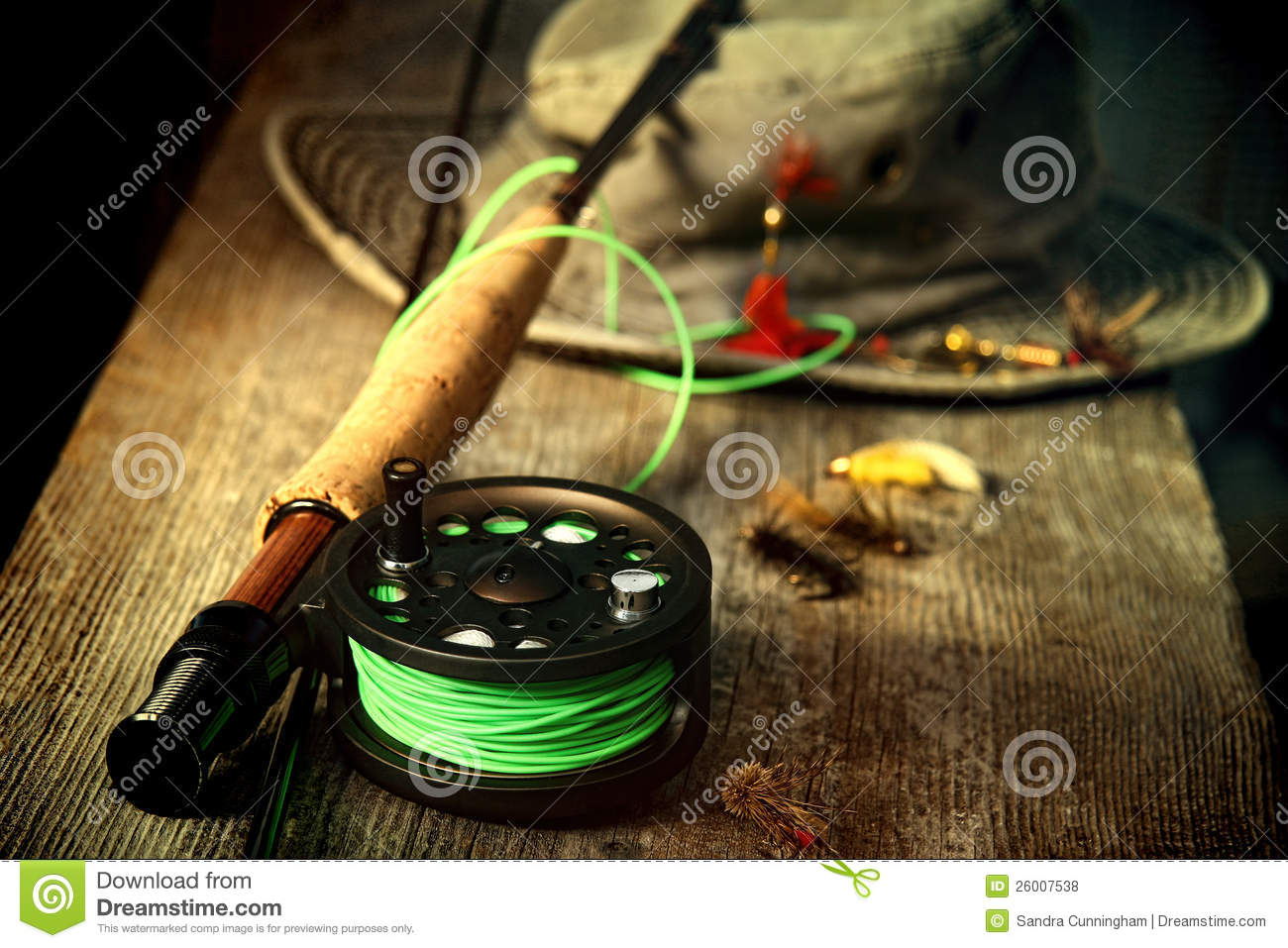 Fly fishing equipment with old hat royalty free stock for How to get free fishing gear