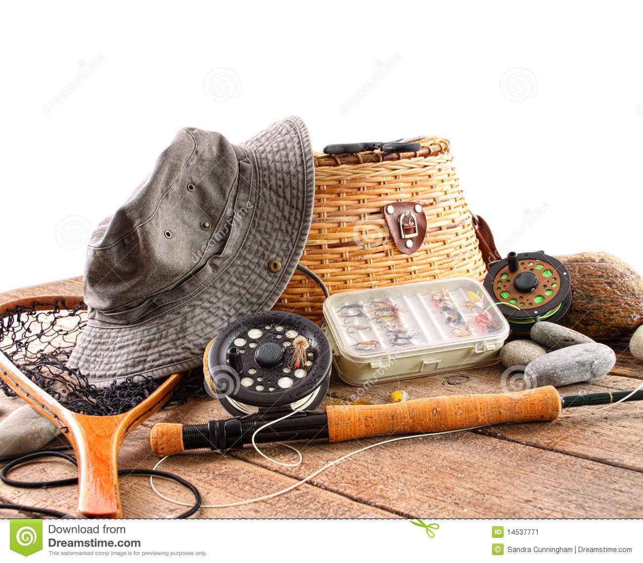 Fly Fishing Equipment On White Stock Image Image 14537771