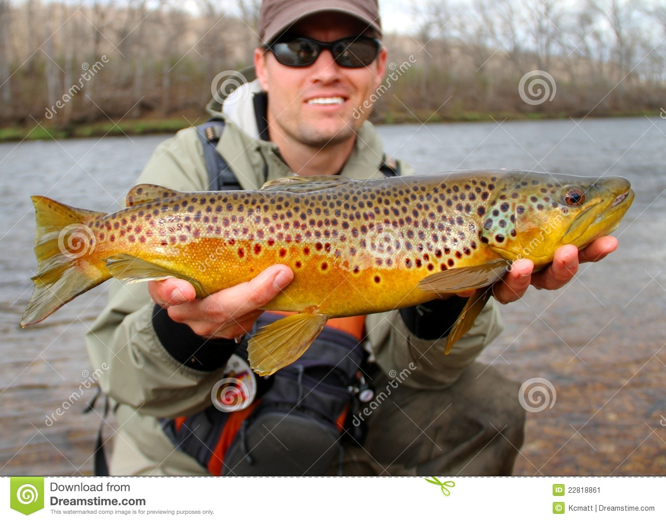 Fly fishing - fisherman with large fish