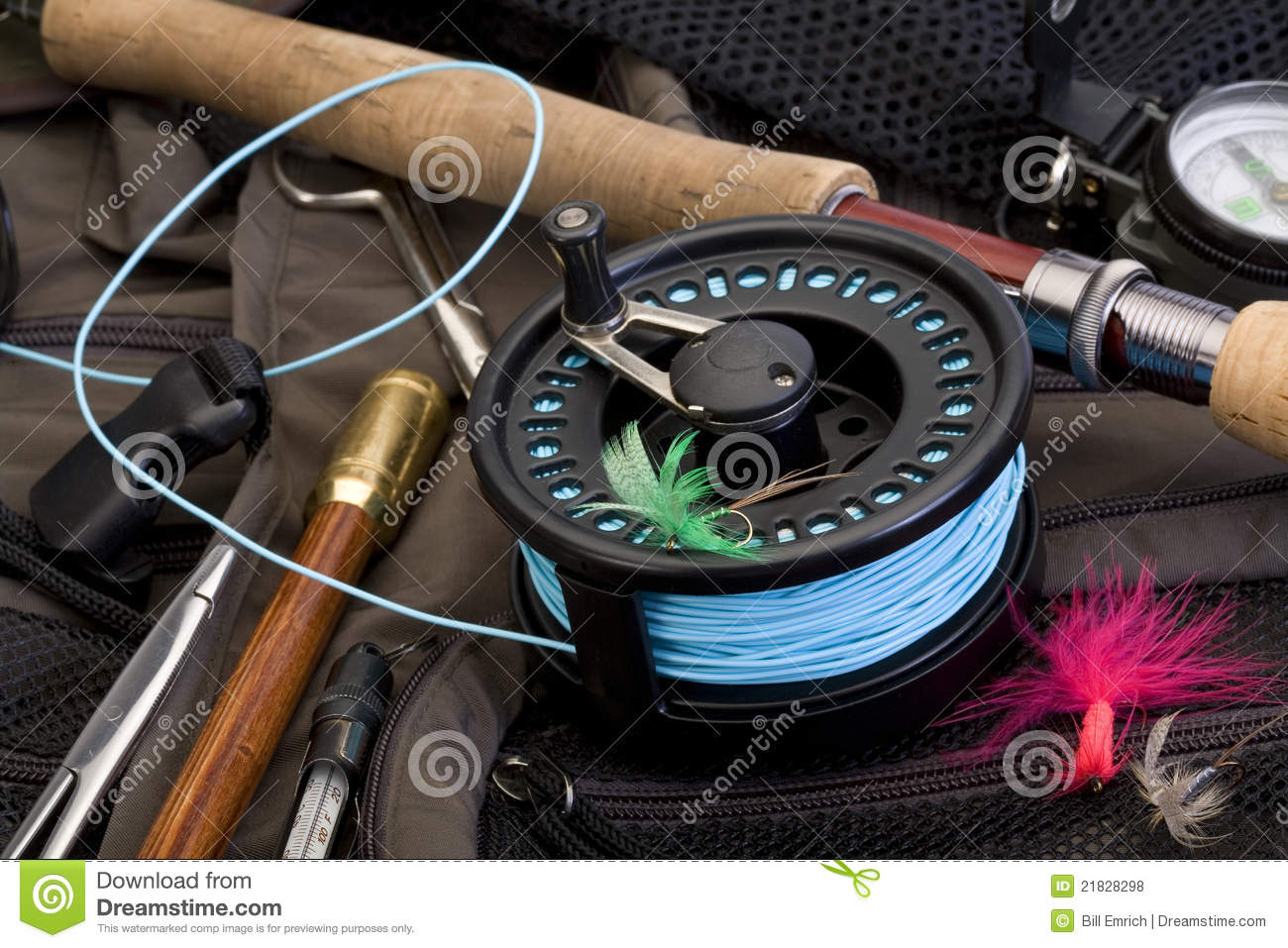 Fly fishing gear royalty free stock photos image 21828298 for How to get free fishing gear