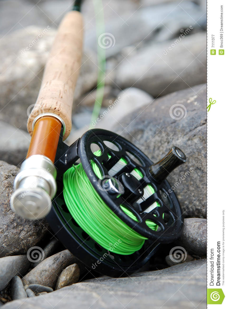Fly fishing rod and reel stock image image of close for Trout fishing rod and reel