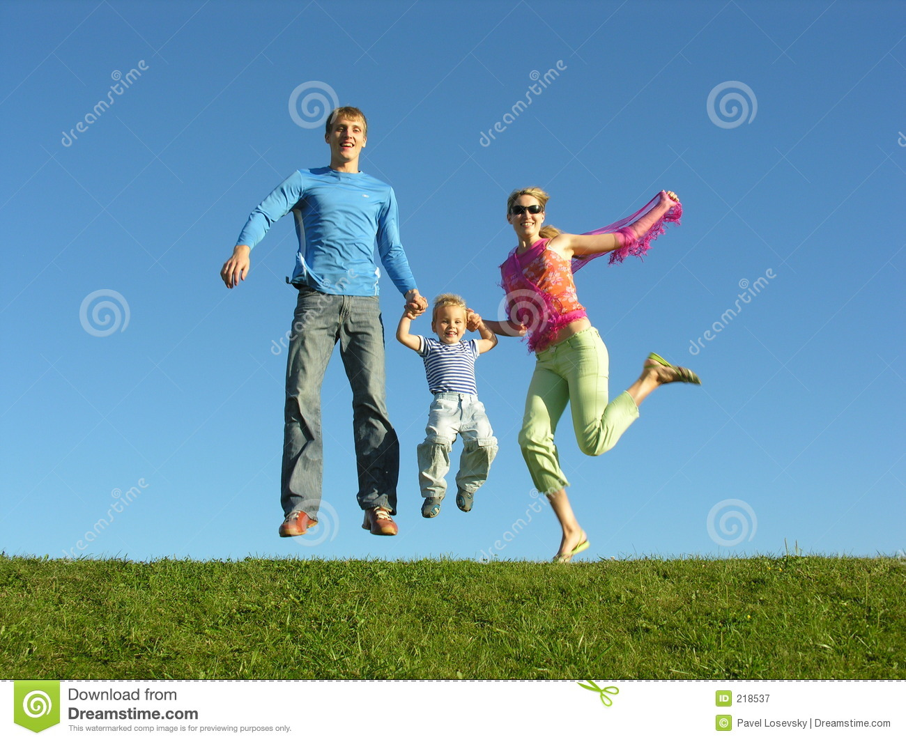 Download Fly Happy Family On Blue Sky Stock Image - Image of happiness, blue: 218537