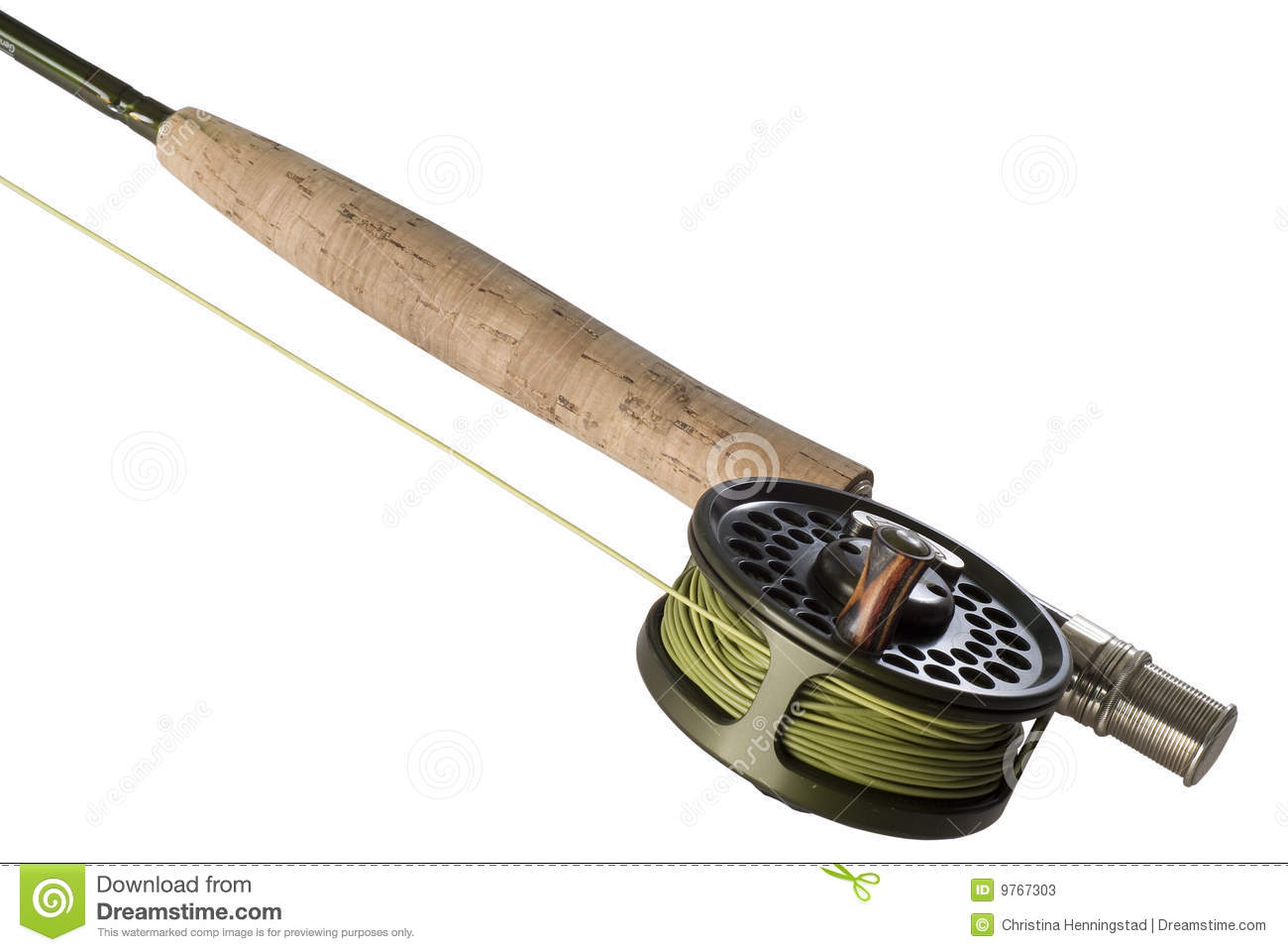 Fly rod with a reel and line stock photos image 9767303 for Trout fishing rod and reel