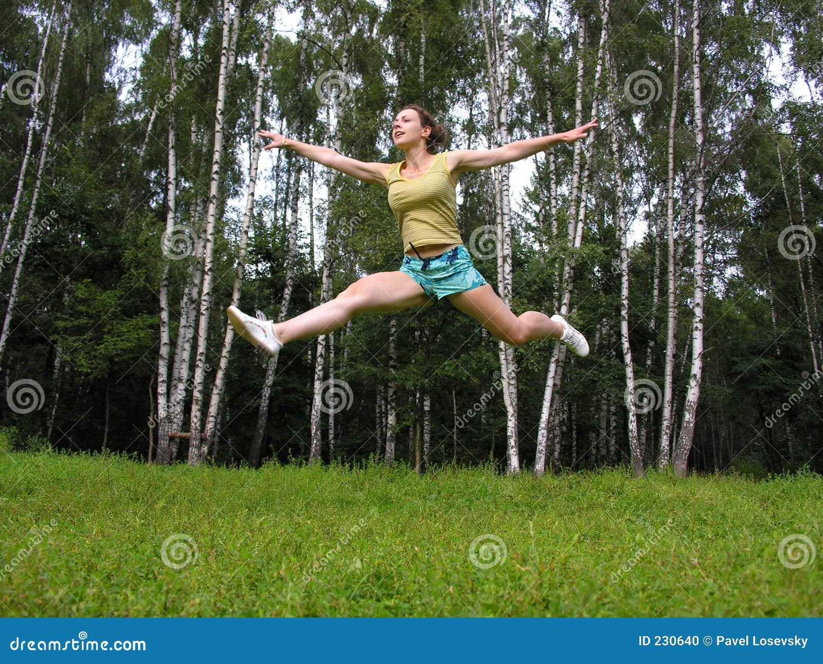 Fly run girl under grass