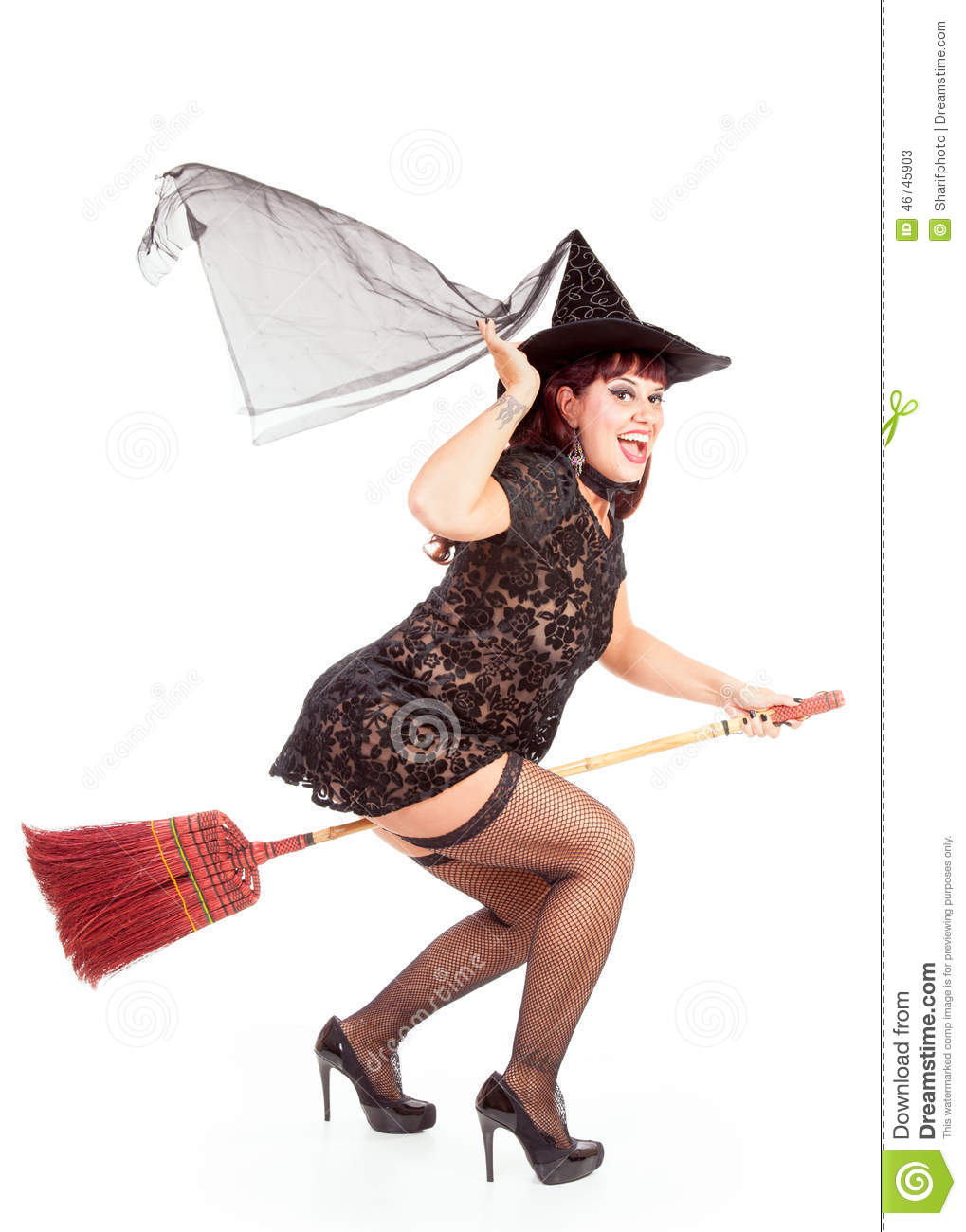 Fly-by Of A Witch On A Broom Stock Photo - Image: 46745903