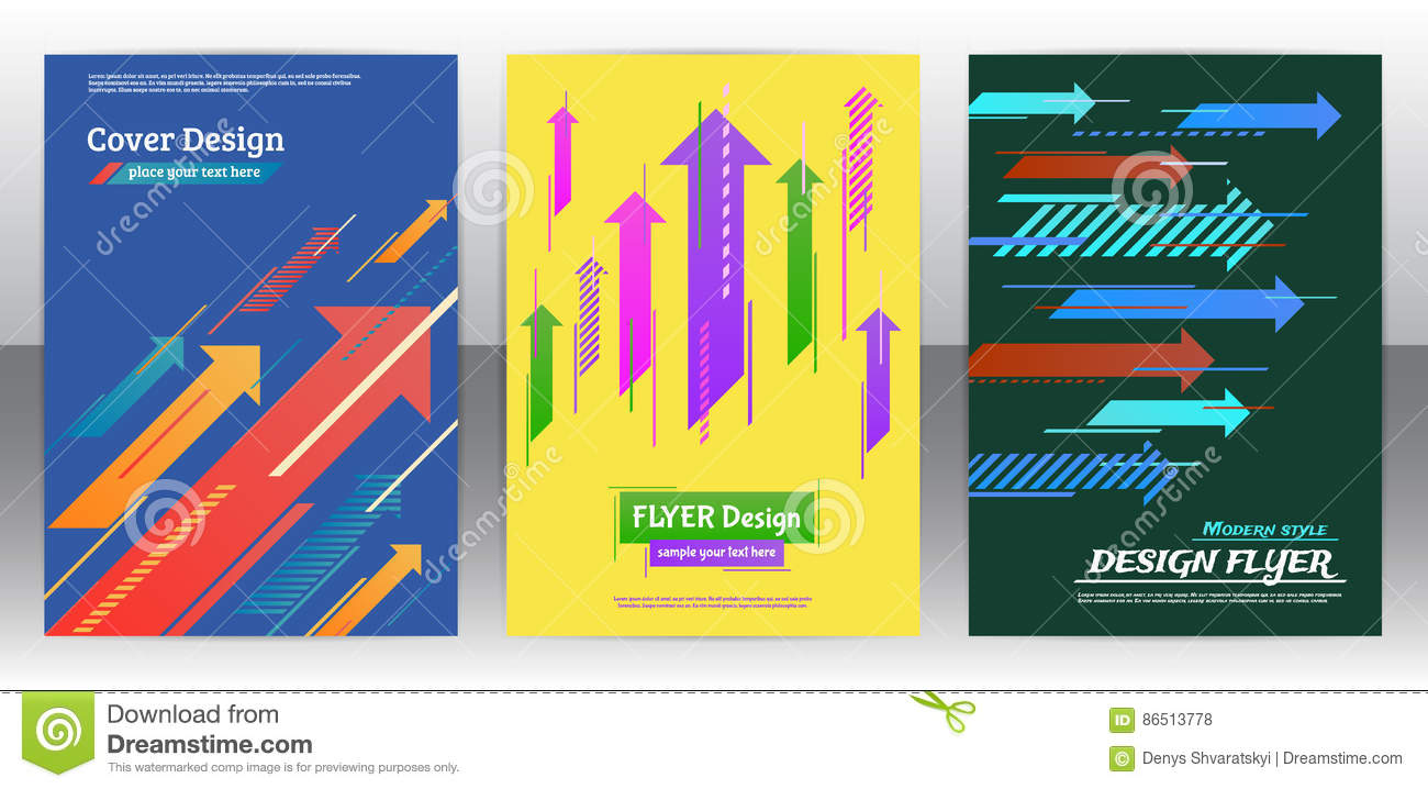 Flyer With Arrows, Stripes Motion And Dynamics  Stock Vector