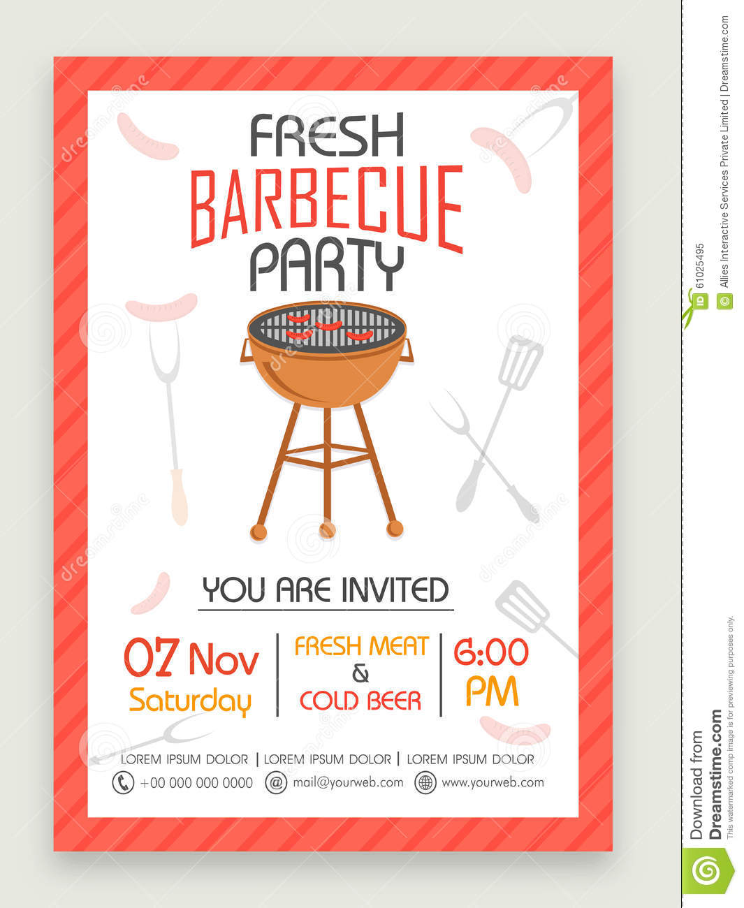 flyer or banner for barbecue party celebration  stock