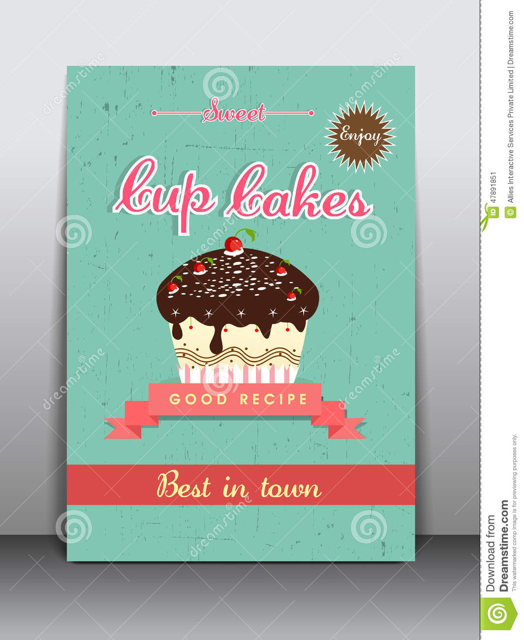 Stock Illustration Flyer Brochure Template Cup Cakes Shop Stylish Menu Card Design Image47891851 on Thank You Card Modern Graphics Cards For