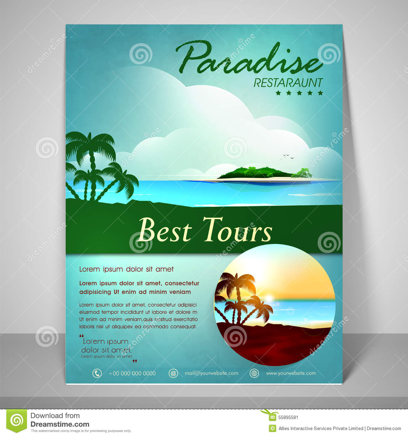 Flyer Brochure And Template For Tourism Stock Illustration - Tourism flyer template
