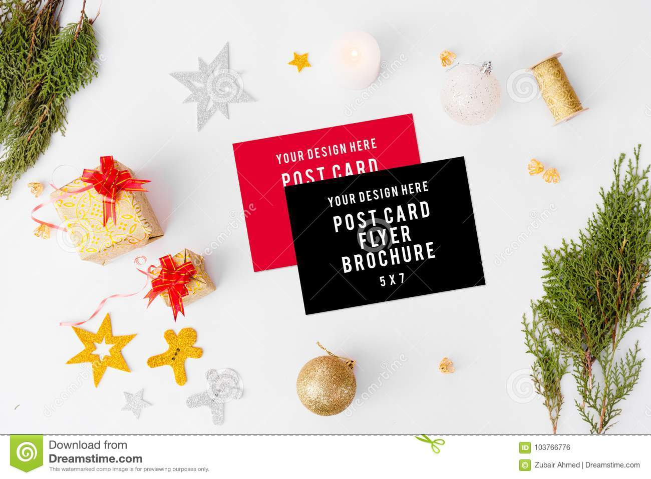 Christmas Business Decorations.Flyer Business Cards Christmas Composition Fir Branches And