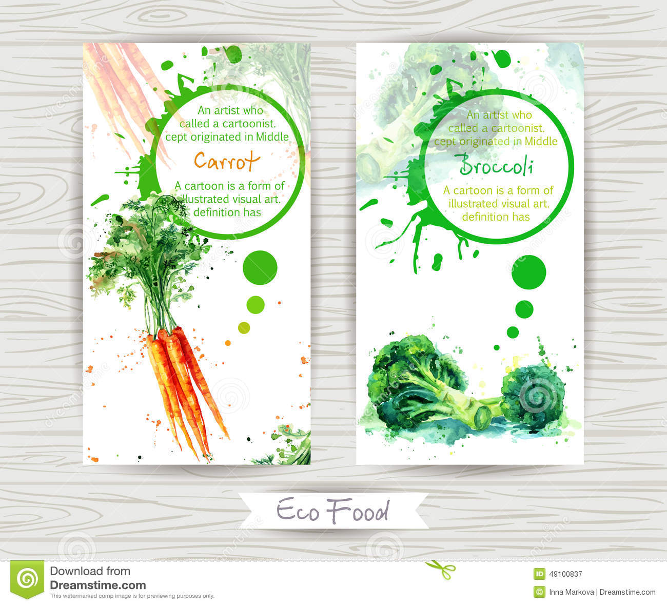Flyer With Carrot And Broccoli. Watercolor Illustration
