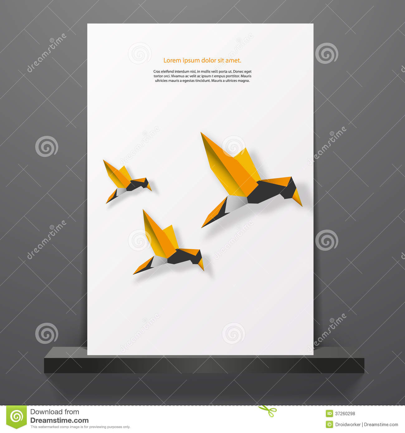 Book Cover Design Of Birds ~ Flyer or cover design with minimal origami birds royalty