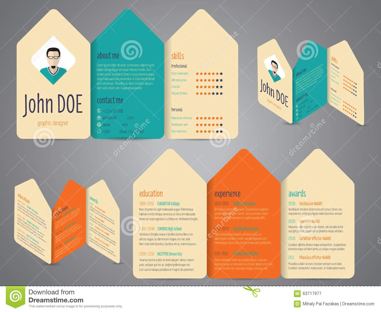 flyer design cv resume template stock vector