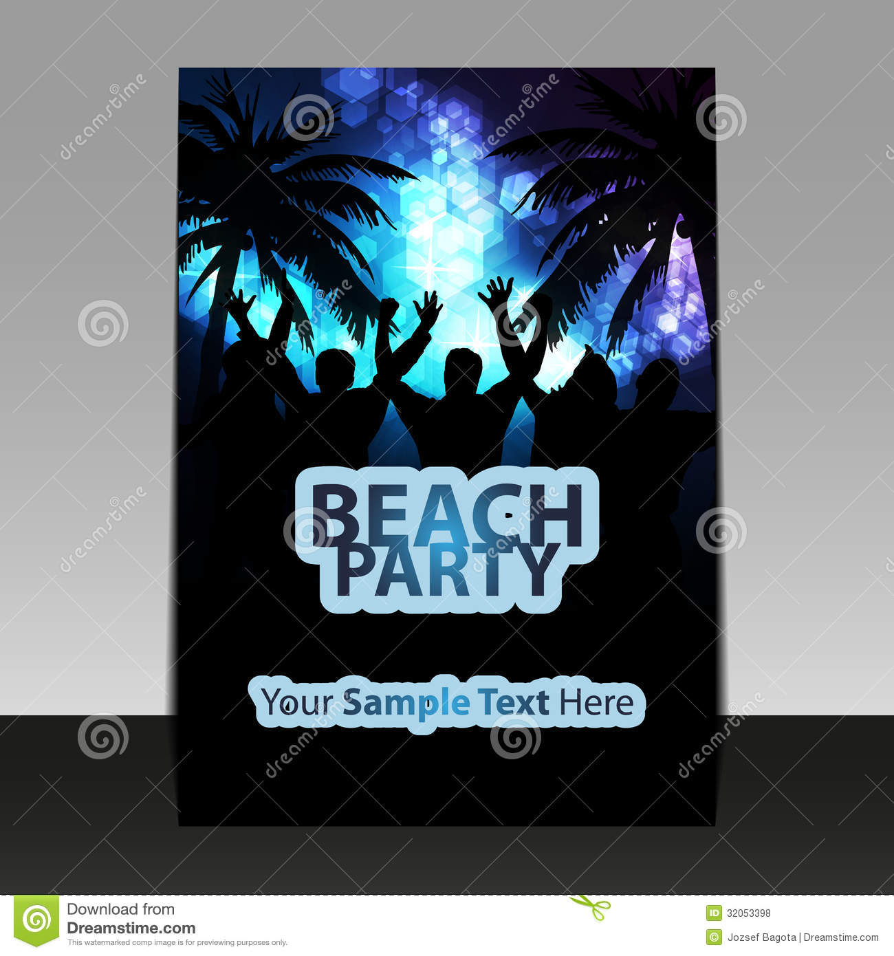 flyer design party time stock vector illustration of beach 32053398
