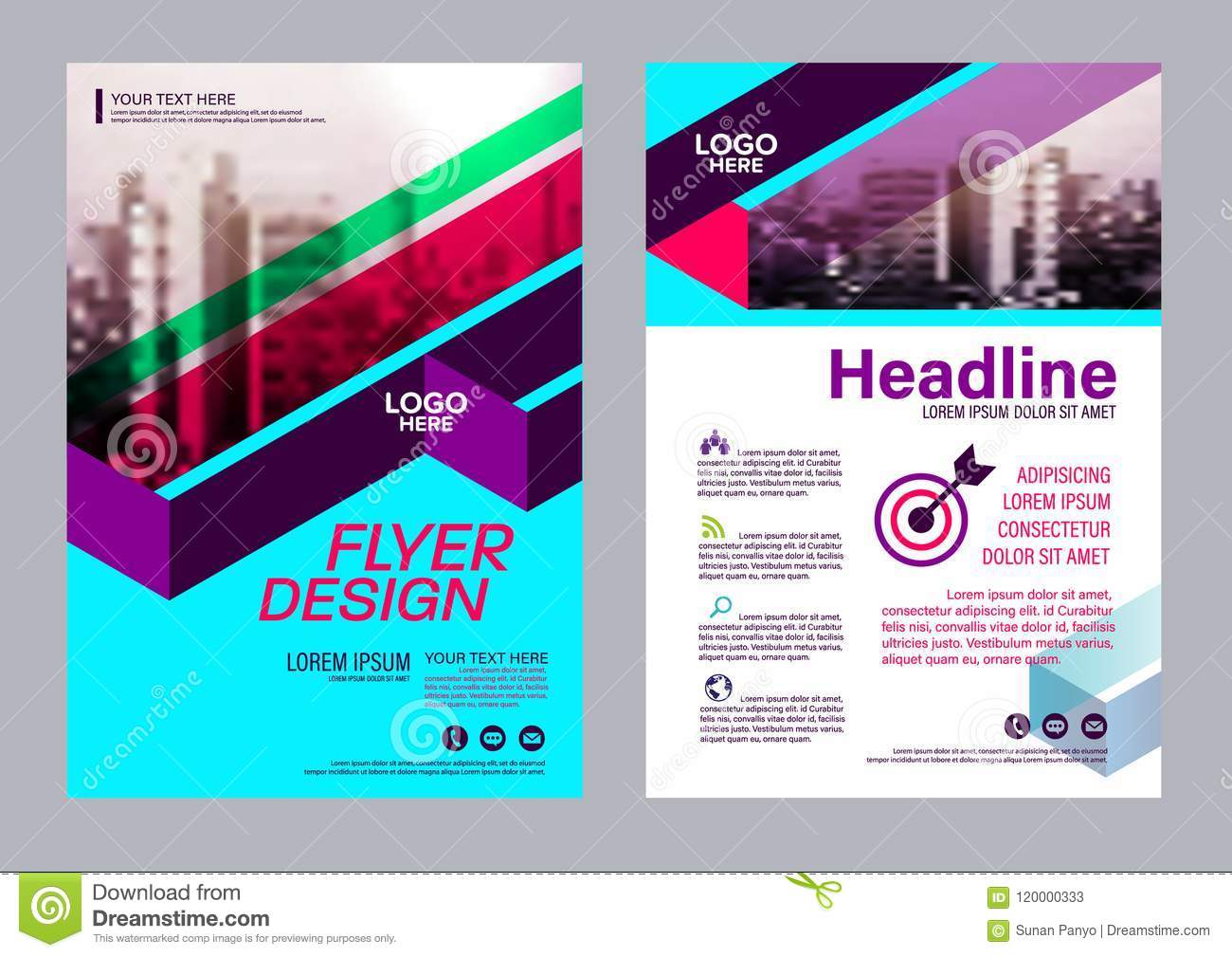 colorful flyer design template brochure layout design stock