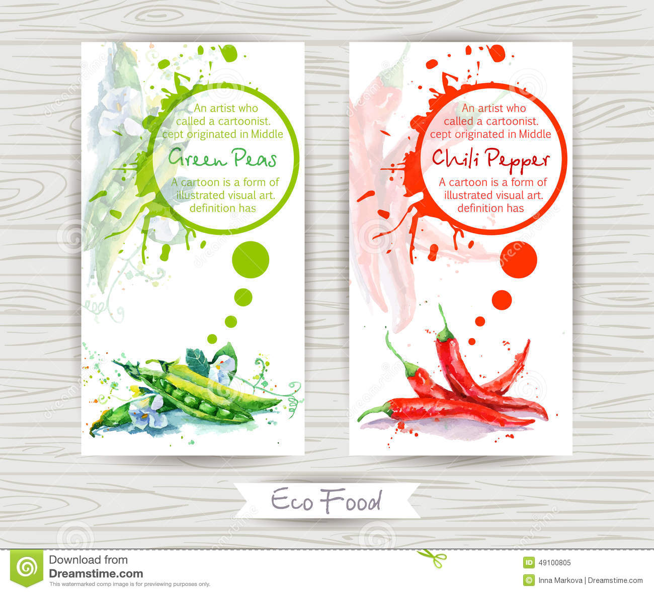 Flyer with green pea and chili pepper watercolor for Watercolor painting templates free