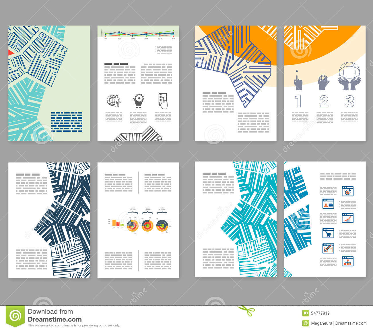 Flyer leaflet booklet layout set editable design for Brochure booklet templates