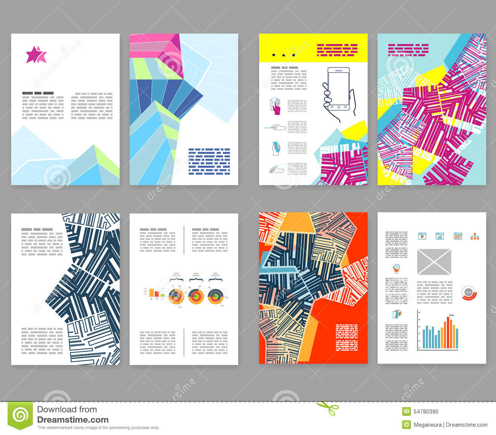 Flyer leaflet booklet layout set editable design for Layout design online