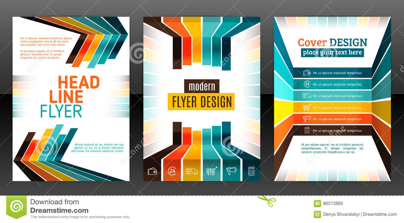 Flyer With Lines, Stripes Motion And Dynamics  Stock Vector