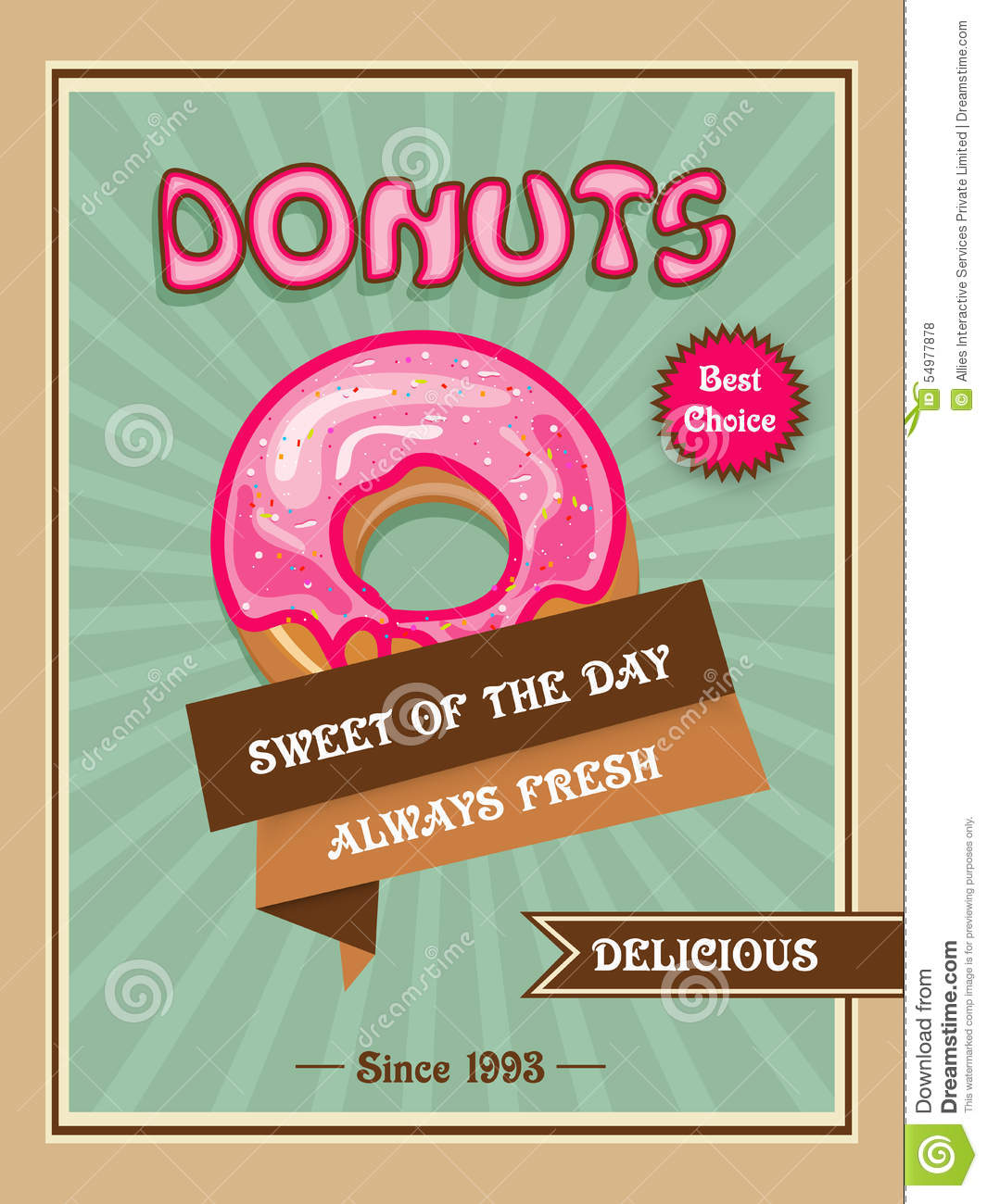 Flyer Or Menu Card For Donuts Shop Stock Illustration