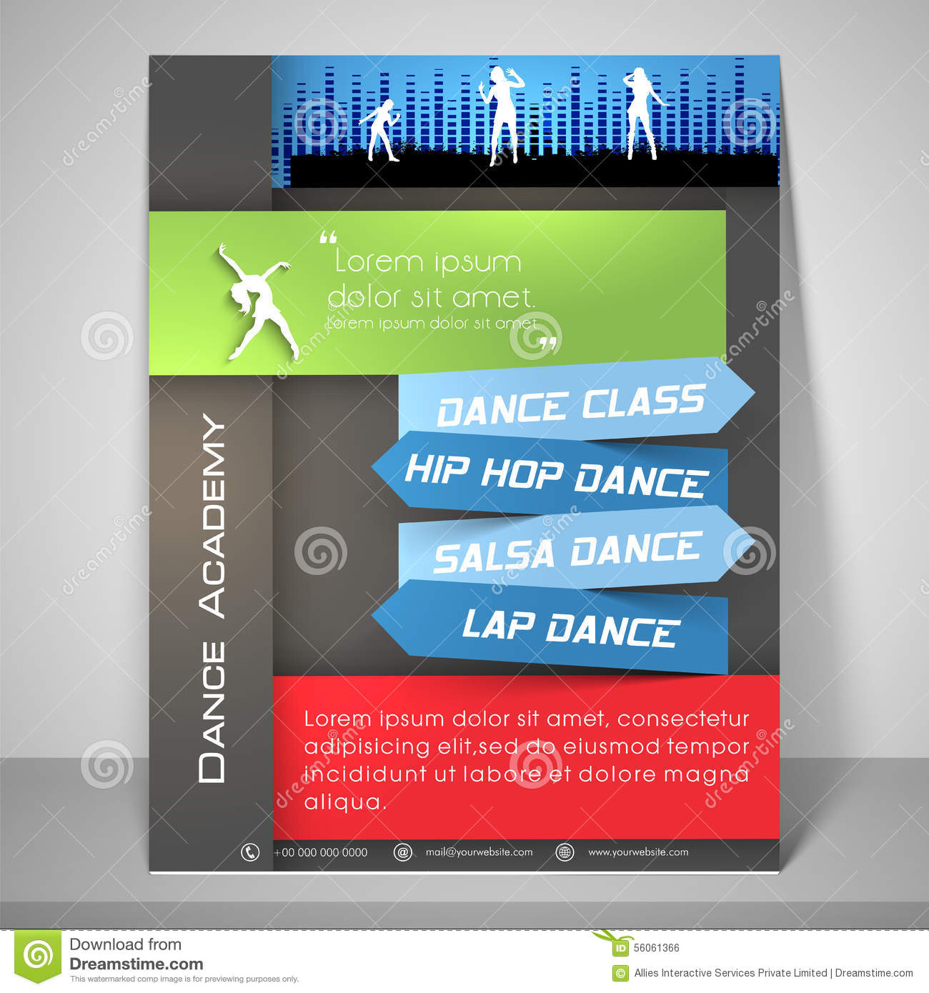 flyer template and banner for dance academy stock illustration