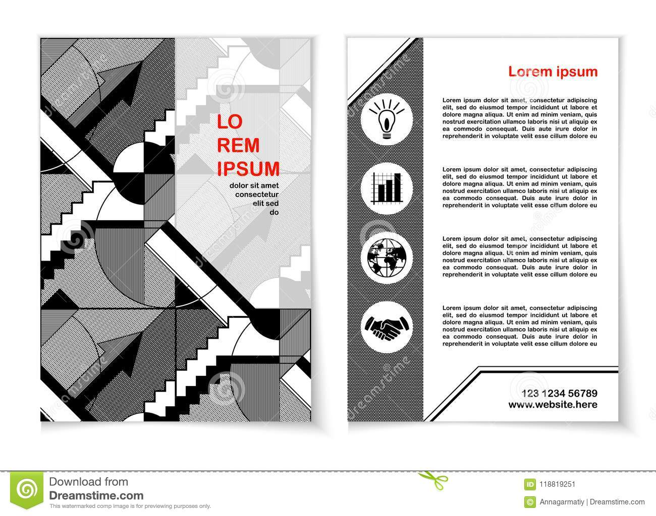 Flyer Template 2 Black And White Stock Vector Illustration Of