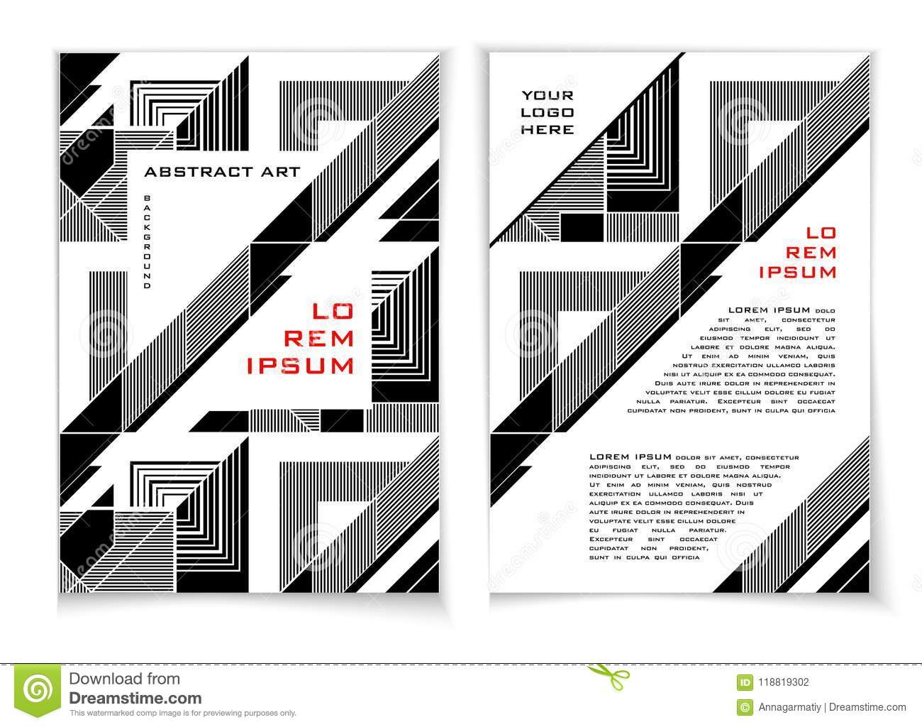 Flyer Template 3 Black And White Stock Vector Illustration Of