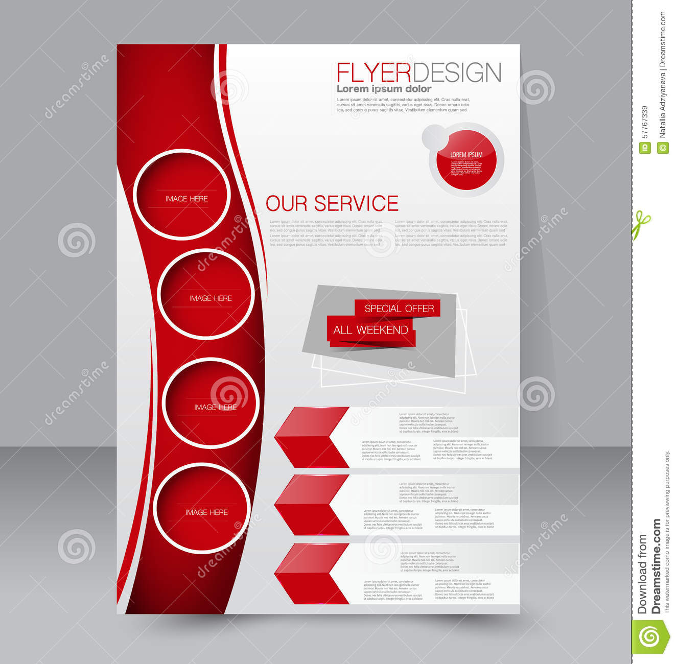 Flyer template business brochure editable a4 poster for Red brochure template
