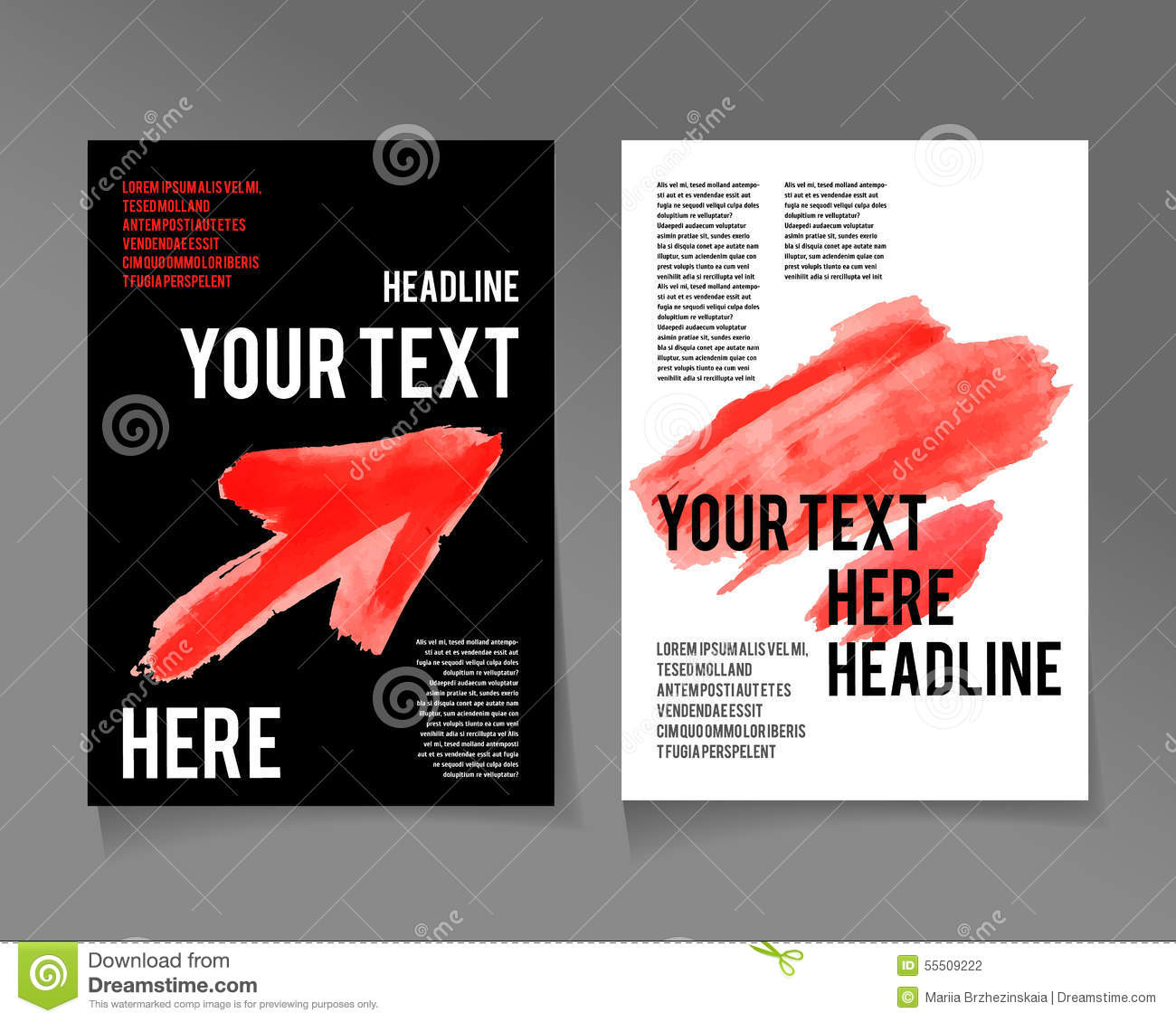 red brochure template - flyer template business brochure red color stock