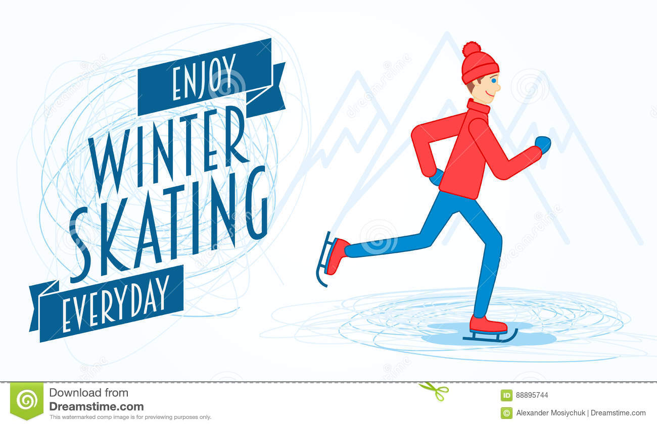 flyer template with an illustration of a man on ice skates stock
