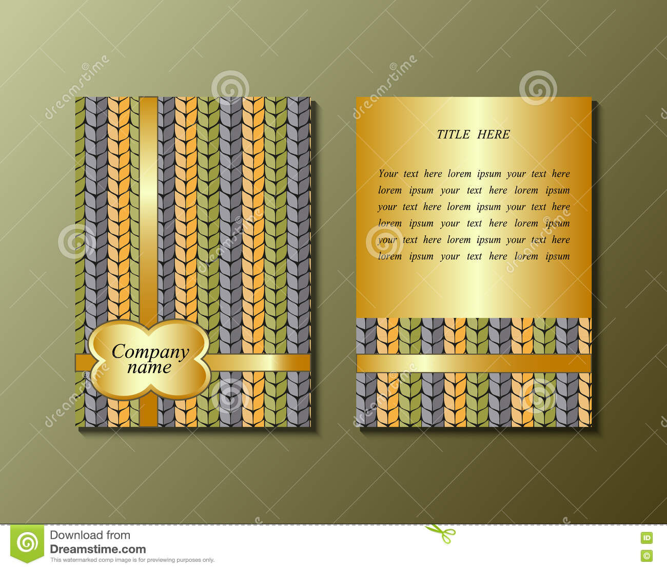flyer template with knitting pattern stock vector illustration of