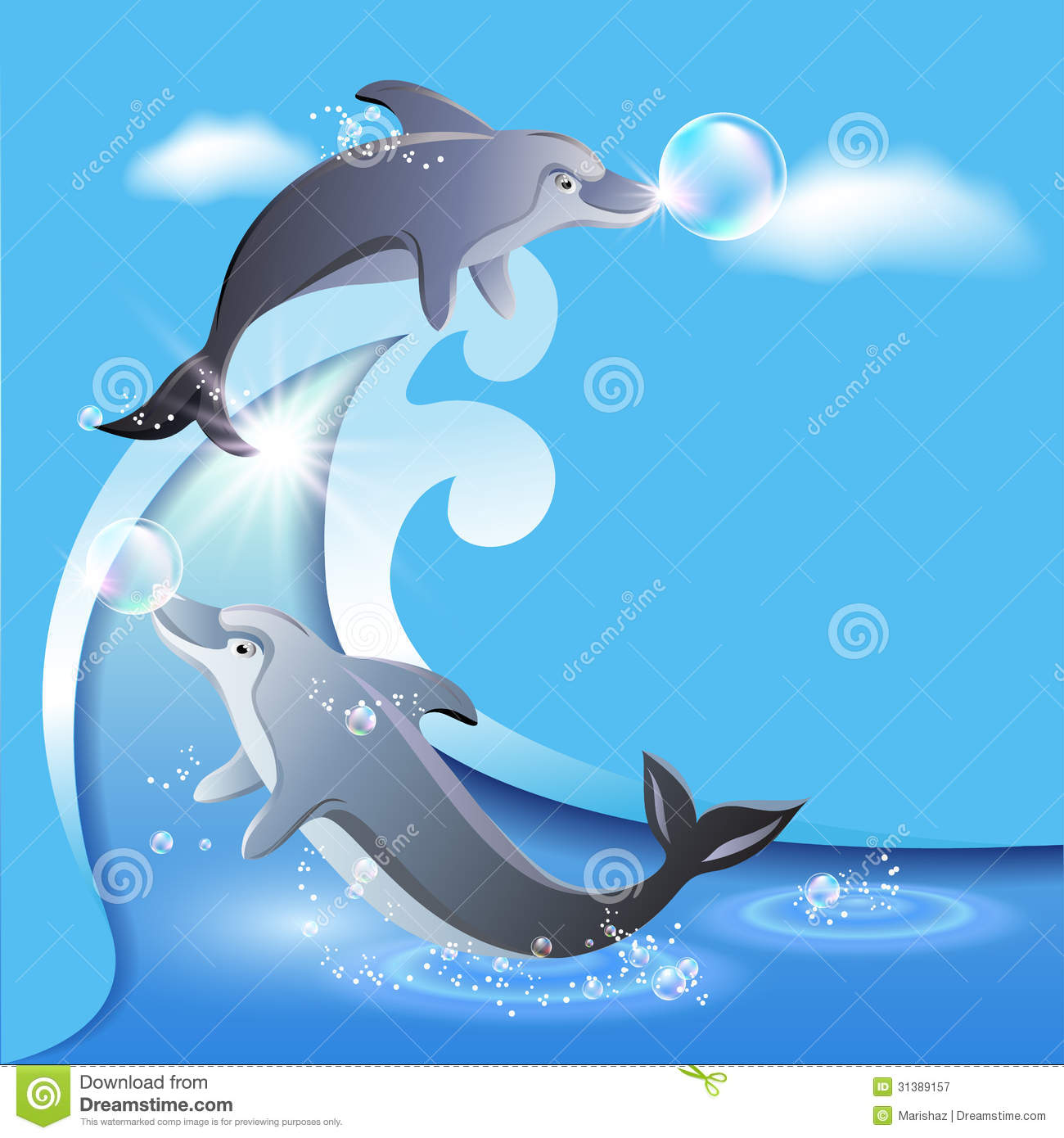 Flyer Template With Two Dolphins Stock Vector - Illustration of ...