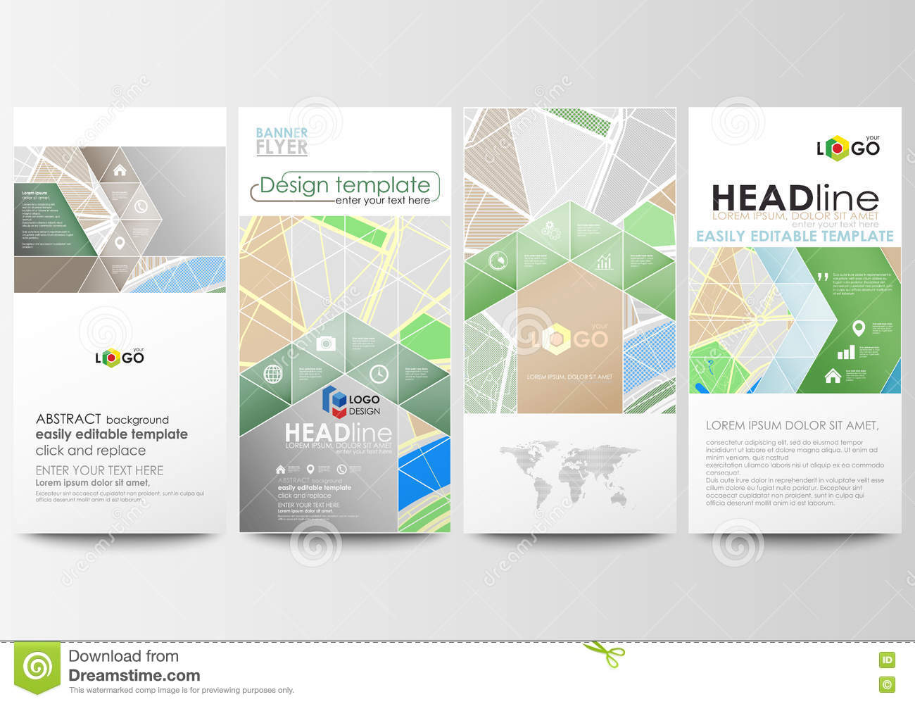 flyers set modern banners business templates easy editable
