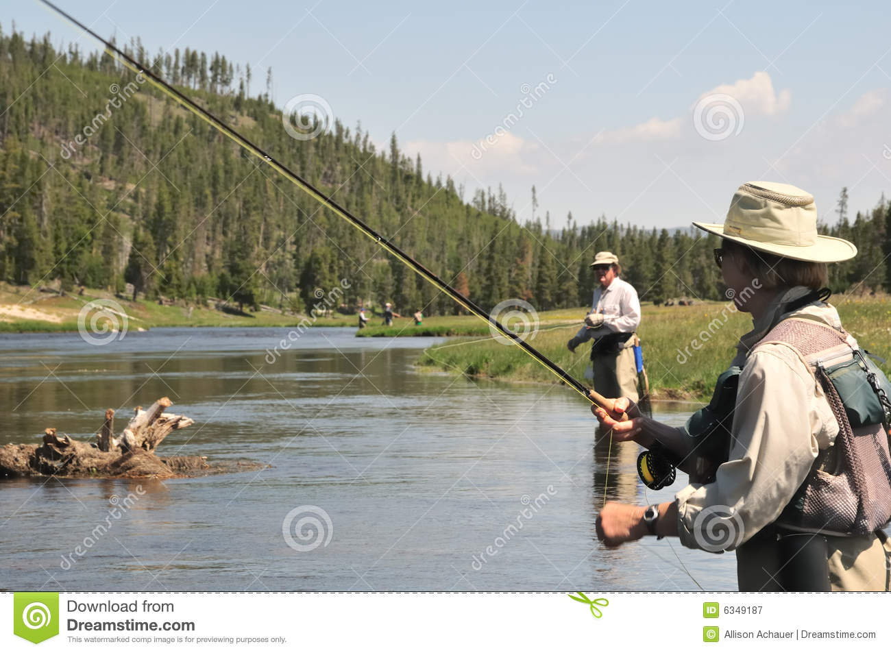 Flyfishing senior couple