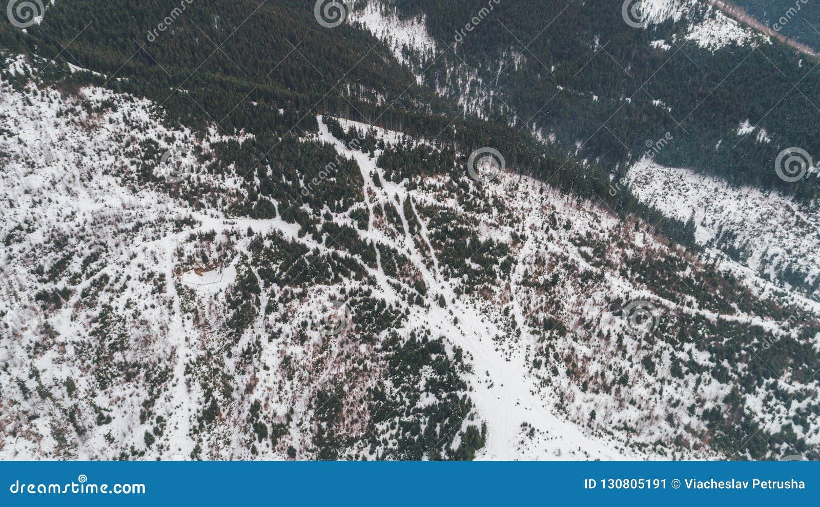 Flyg- bergsikt snow Vinter Bukovel carpathians