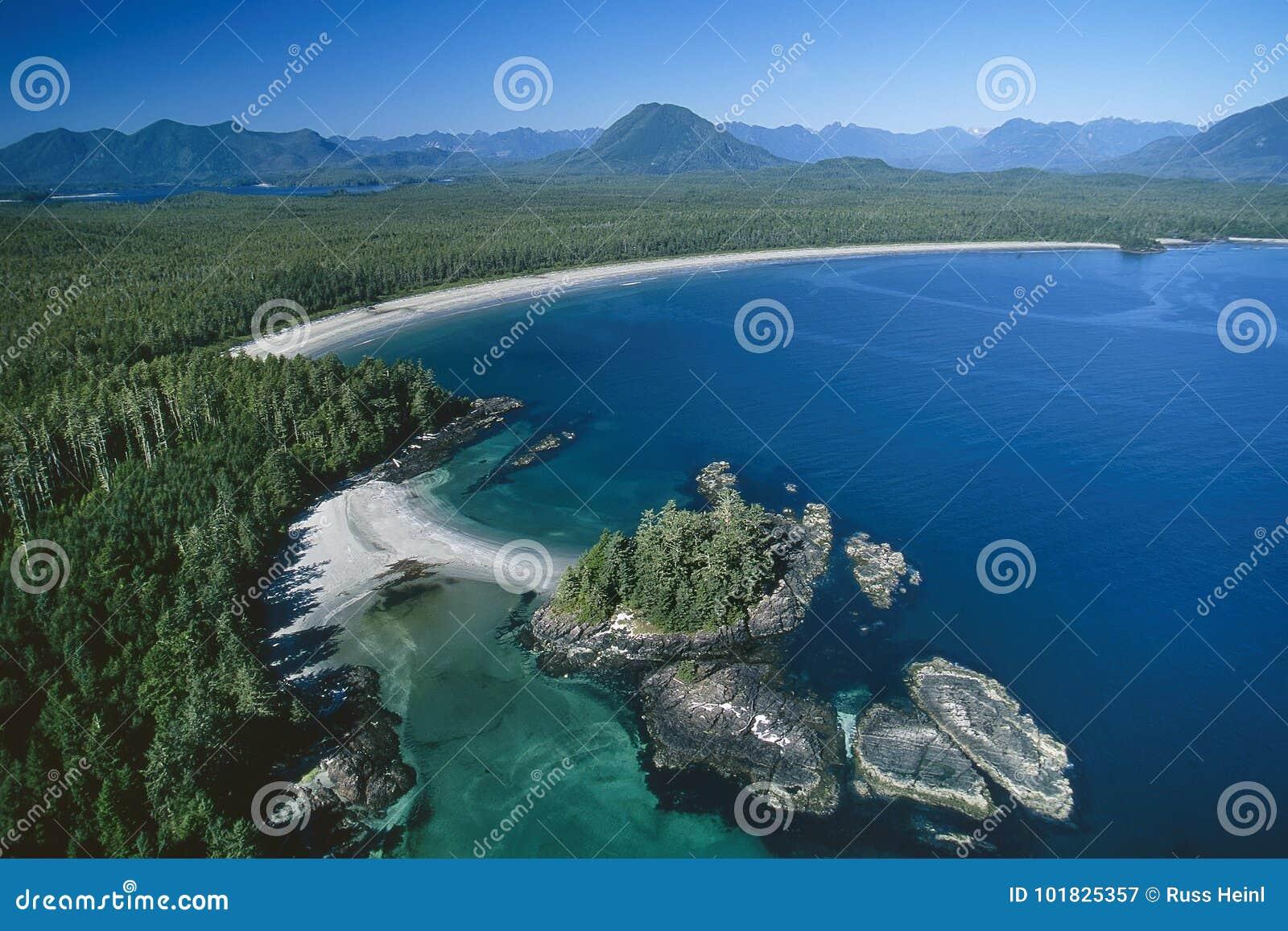 Flyg- bild av den Vargas ön, Tofino, F. KR., Kanada