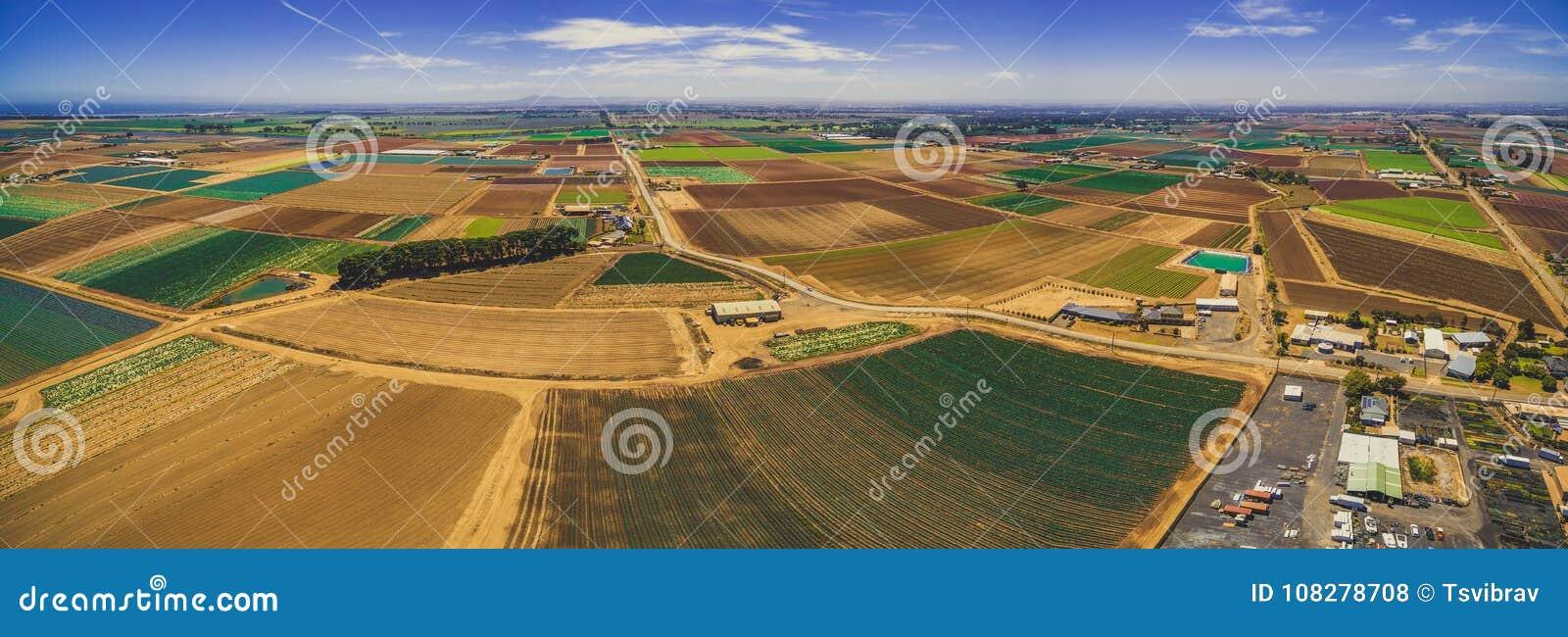 Flyg- panorama av härligt jordbruksområde i Australien
