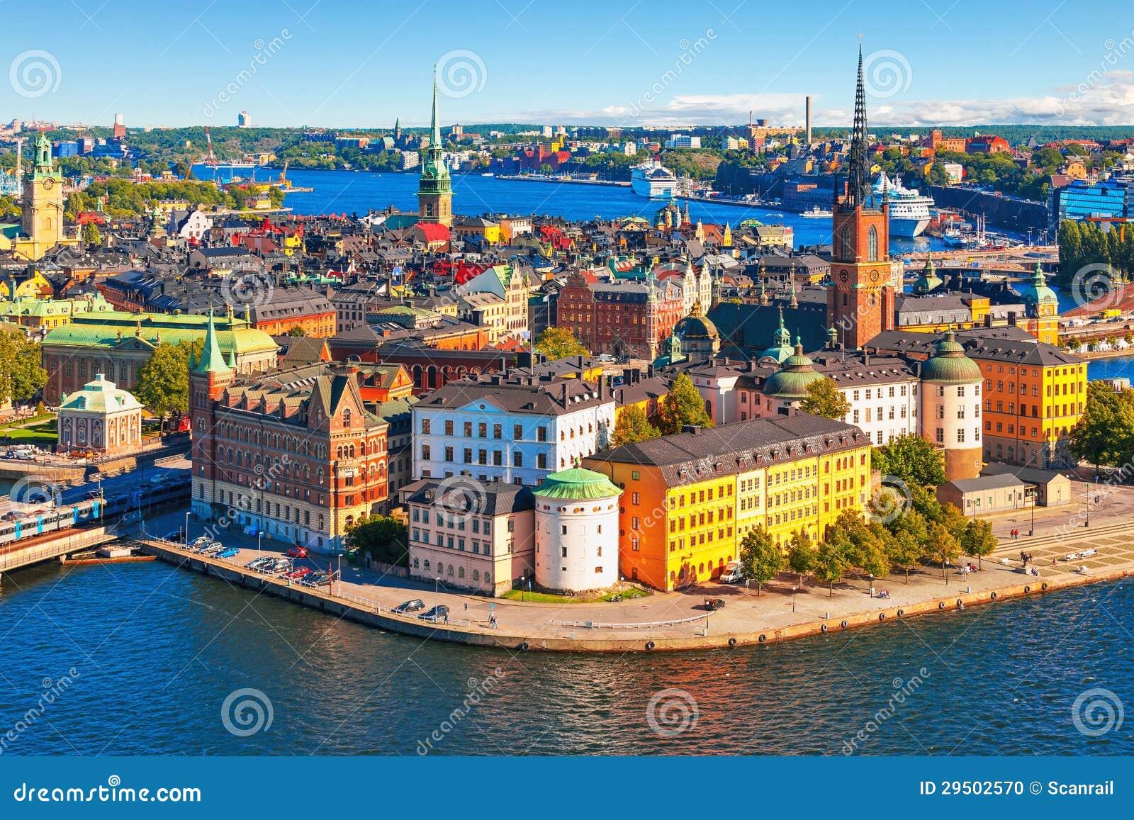 Flyg- panorama av Stockholm, Sverige