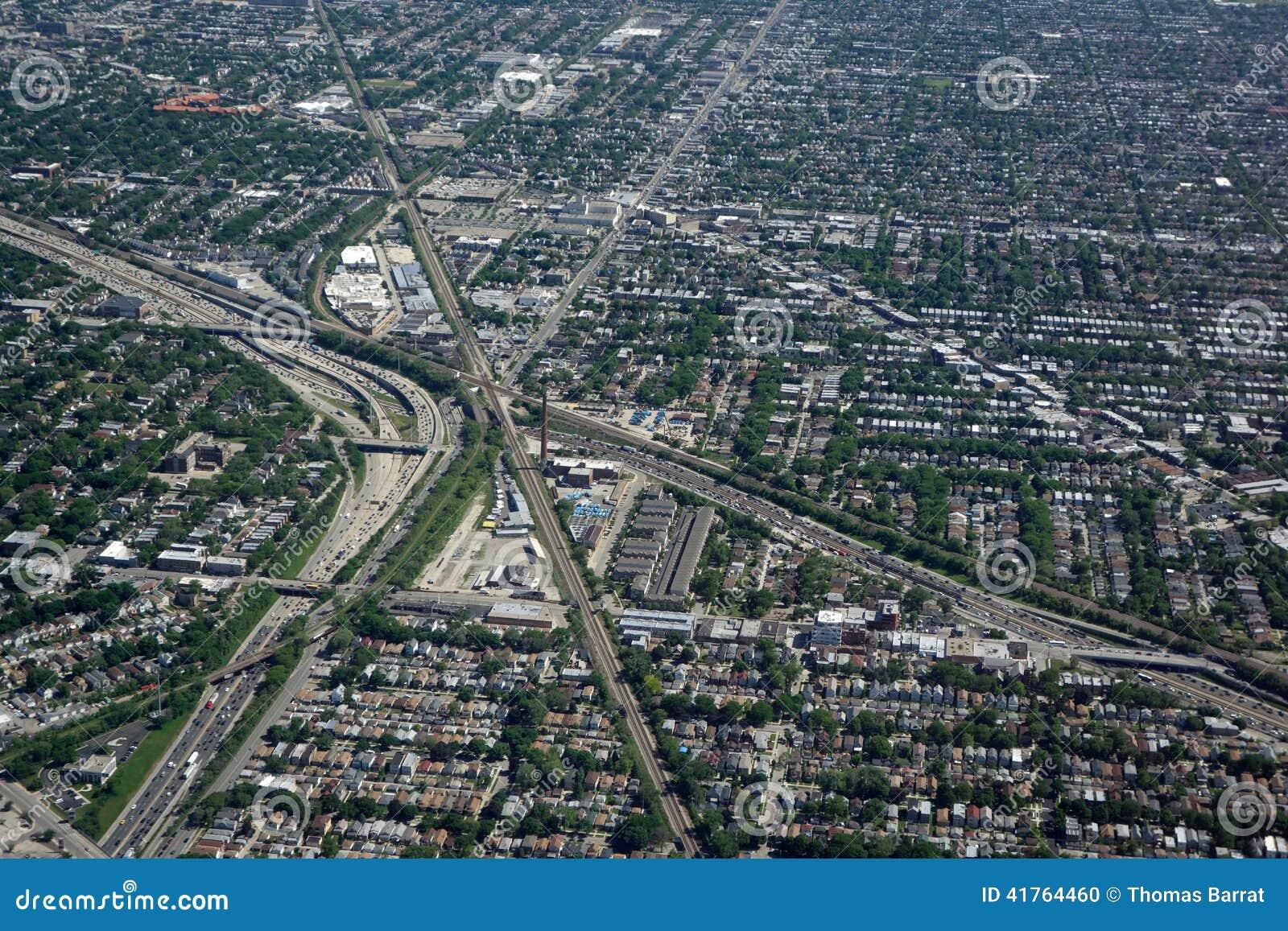 Flyg- sikt av Chicago trafik