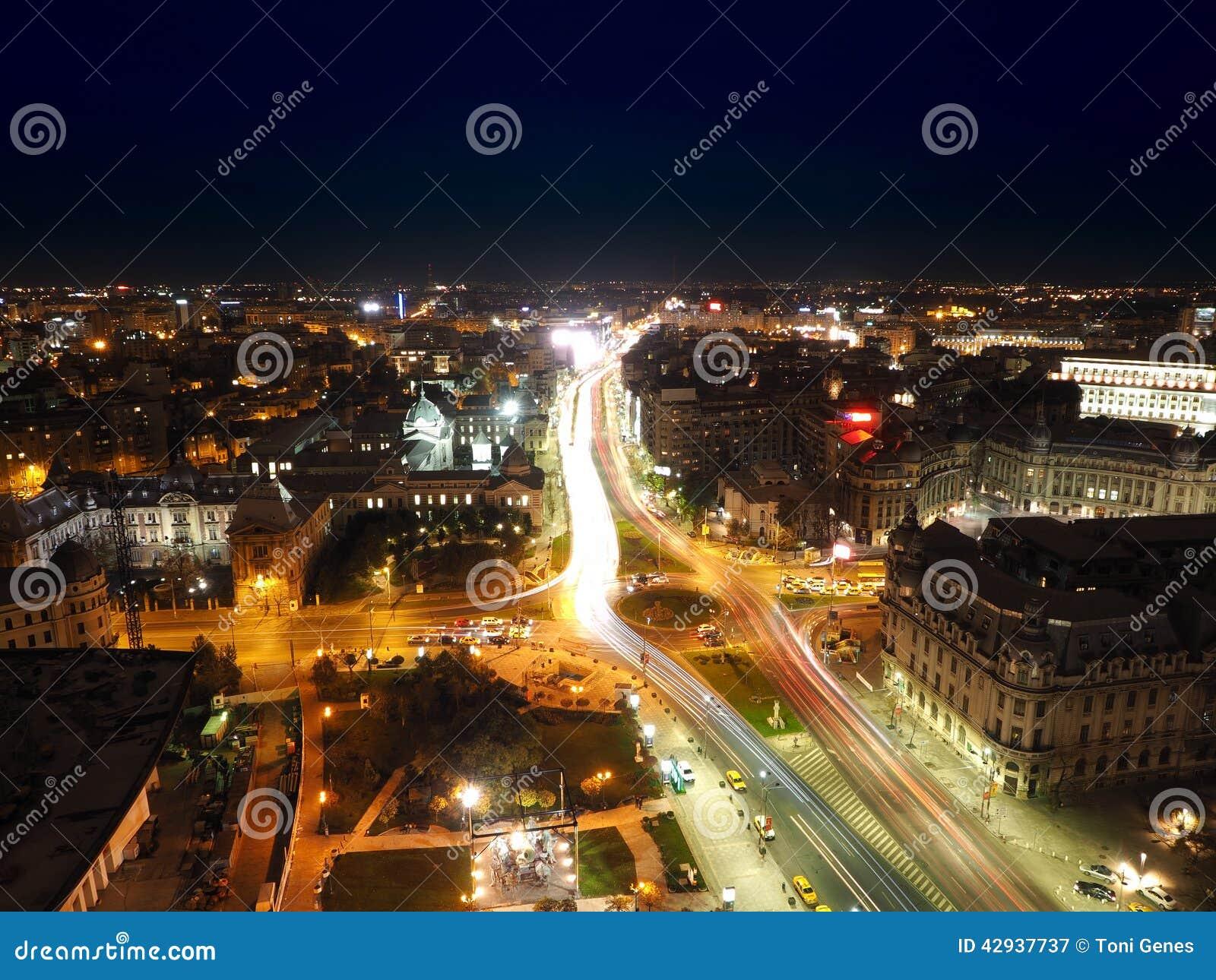 Flyg- sikt av den Bucharest staden