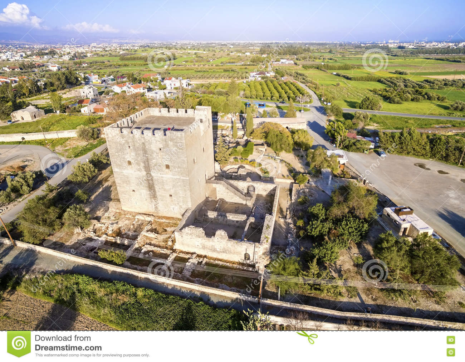 Flyg- sikt av den medeltida slotten av Kolossi, Limassol, Cypern
